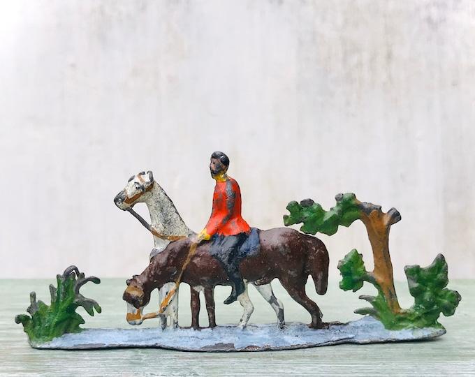 Antique Lead Semi Flat Miniature Horses, Rider & River, Heyde Spenkuch
