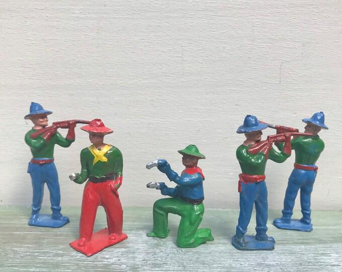 Crescent Toys Miniature Lead Cowboys, Hollow-Cast Wild West Figures