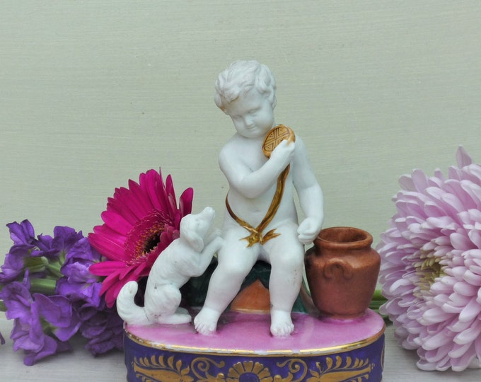 Vintage Classical French Porcelain Bisque Putti & Dog Figurine Group