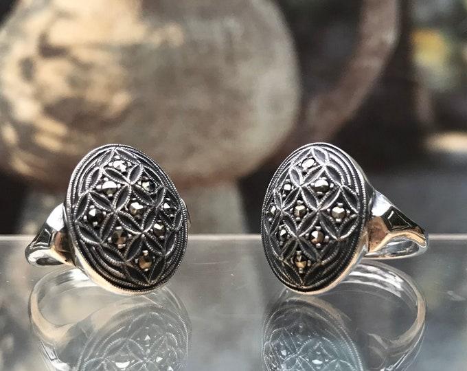 Bernard Instone Jewellery, Vintage Sterling Silver & Marcasite Rings
