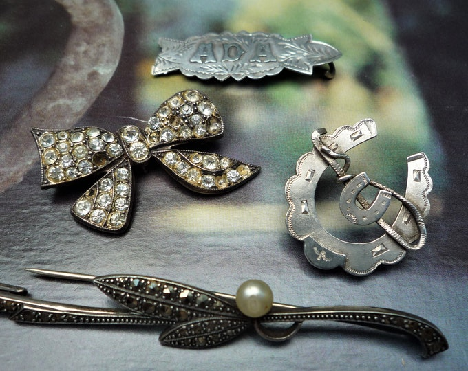Victorian Silver Brooches for Restoration, Compilation Jewelry, FAULTS