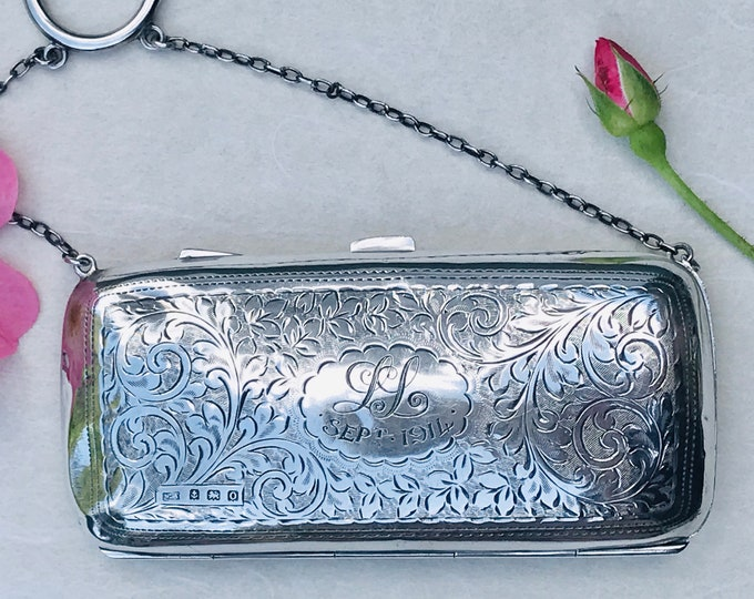 William Adams 1914 Antique Sterling Silver Dance Purse, Small Clutch