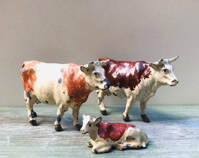 Vintage Britains Lead Farm Animal Figures, Miniature Brown Cows & Calf