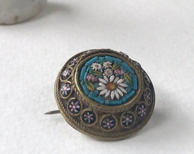 Vintage Brooch, Italian Millefiori Micro Mosaic Small Round Floral Pin