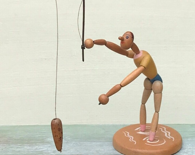 Vintage Fishing Man, Rod, Line and Fish Figure, 1950 German Wooden Toy
