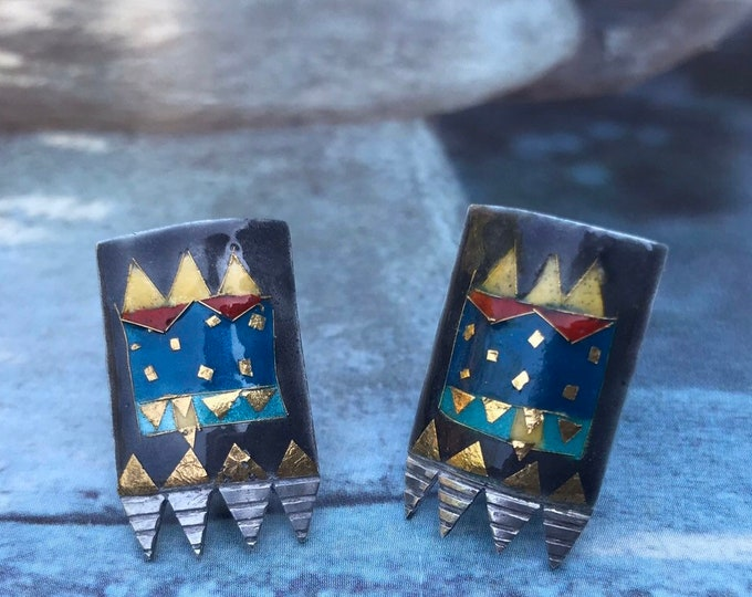 Sterling Silver & Colourful Enamel Geometric Earrings, Vintage Jewelry