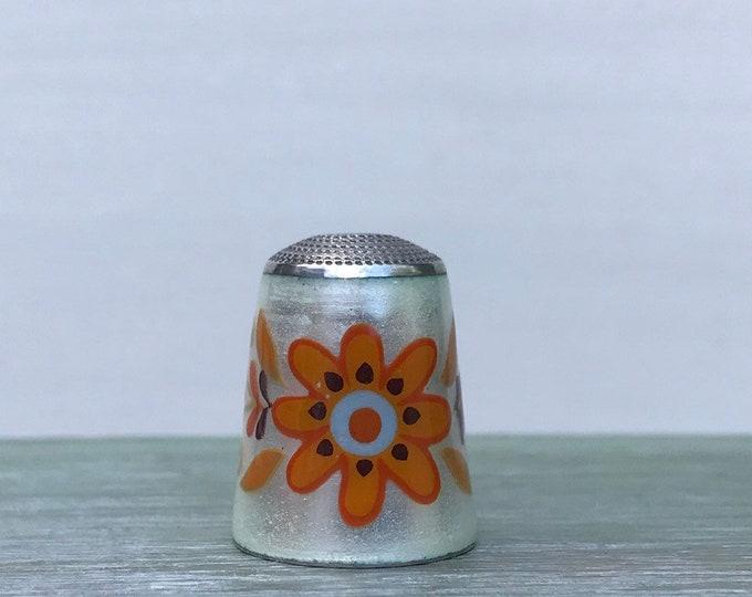 James Swann Sterling Silver & Guilloche Enamel Thimble Orange Flower
