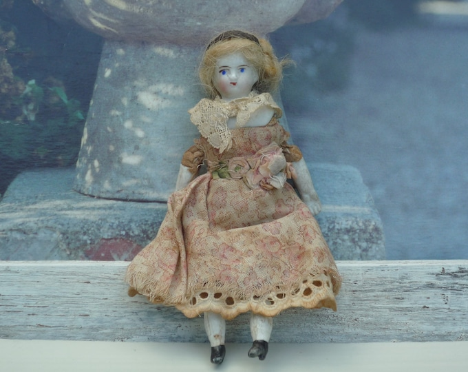 Victorian Dolls House Miniature German Porcelain Doll with Lace Dress