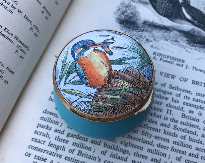 Staffordshire Enamels Kingfisher Trinket, Ring or Pill Box, Bird