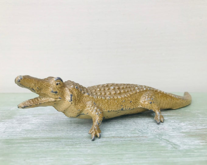 Vintage Miniature Lead Crocodile, Britains Era Zoo Metal Animal Figure