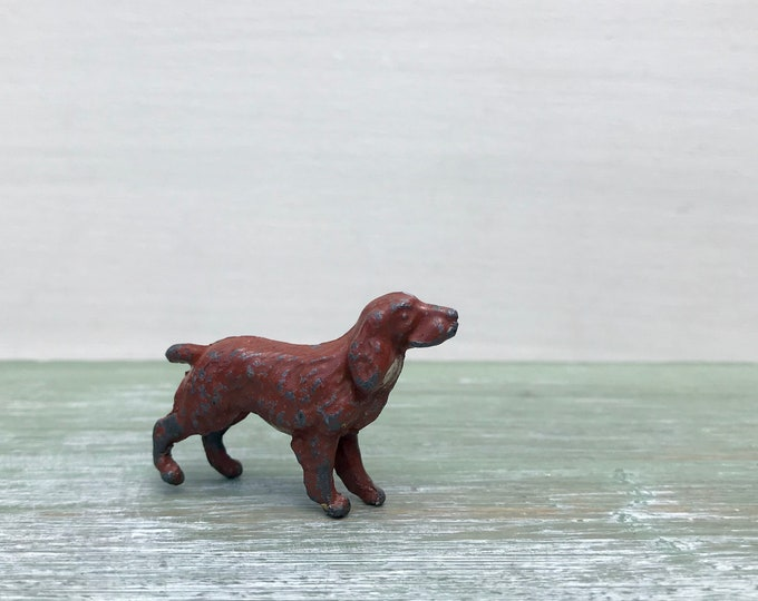 Britains Era Lead Farm Dog, Tiny Red Setter Pet Animal Figure