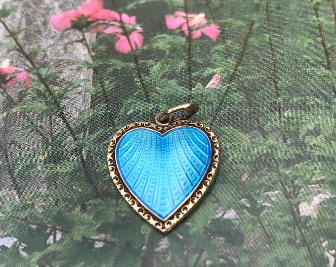 David Andersen Willy Winneass  Silver Vermeil Blue Heart Pendant Charm