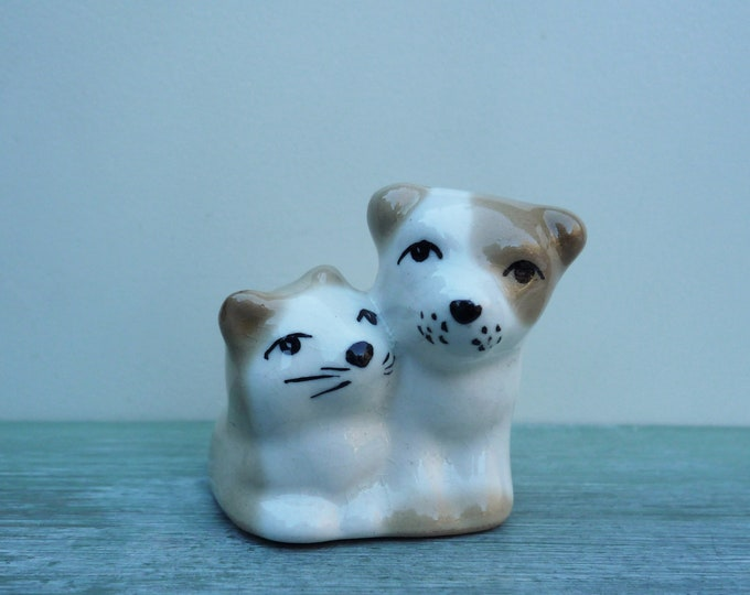 Vintage Szeiler Porcelain Puppy & Kitten, Miniature Ceramic Cat Dog
