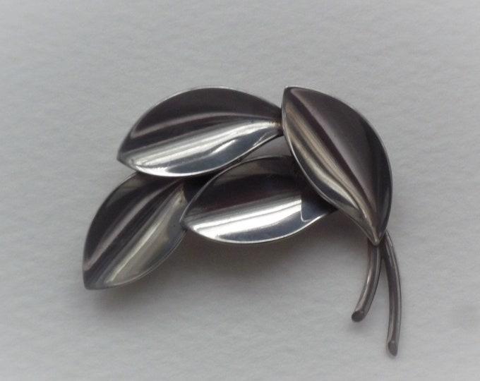Vintage Aarre & Krogh Silver Leaf Brooch, Mid Century Danish Jewellery