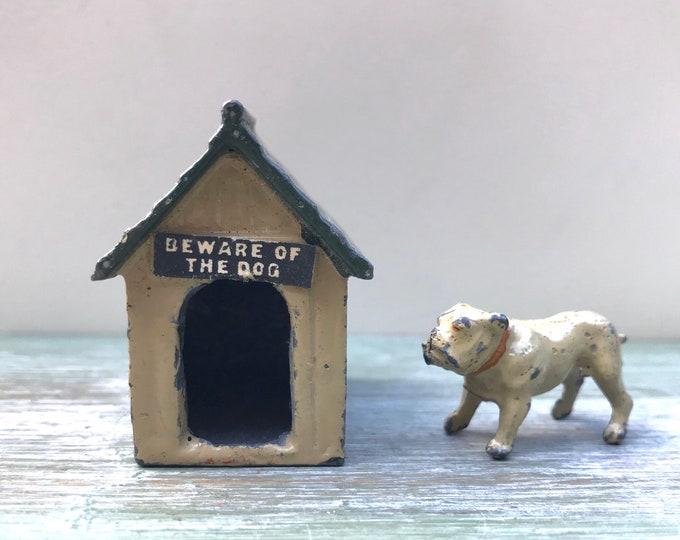 J hill Beware Of The Dog Kennel & Bulldog Vintage Lead Miniature Pet