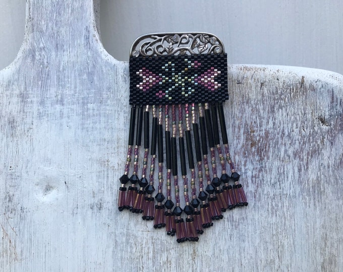 Vintage Art Deco Flapper Style Jewellery, Beaded Fringe Brooch