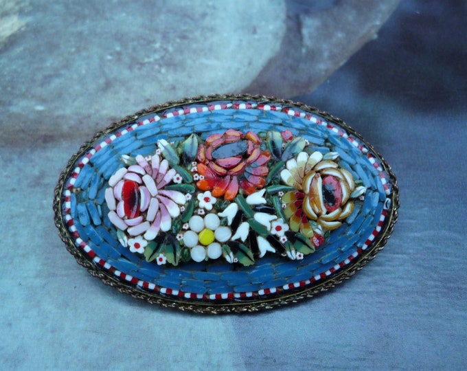 Vintage Italian Millefiori and Micro Mosaic Brooch, Large Floral Pin