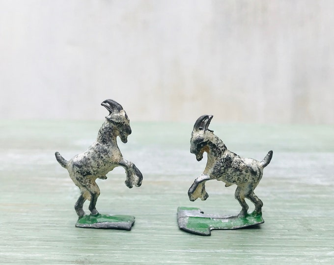 Antique Miniature Semi Flat German Lead Goat Figures, Heyde Henrichsen