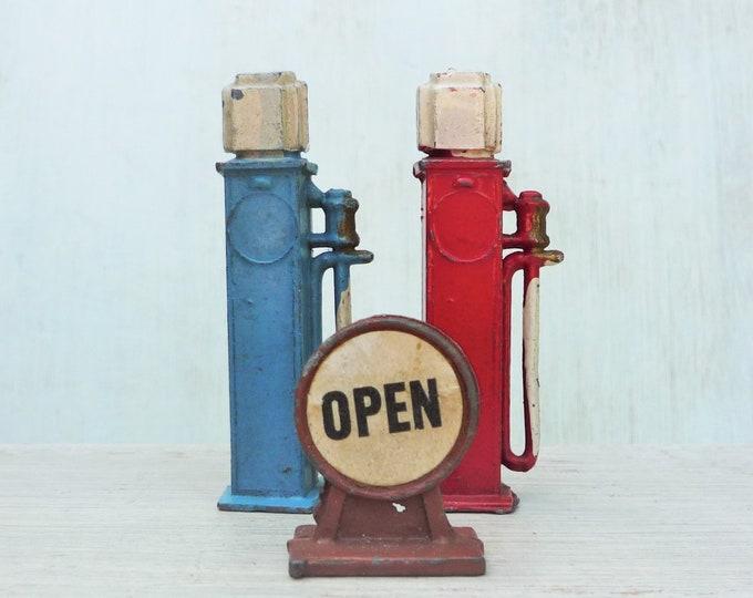 Art Deco Miniature Lead Petrol Pumps & Garage Open / Closed Sign