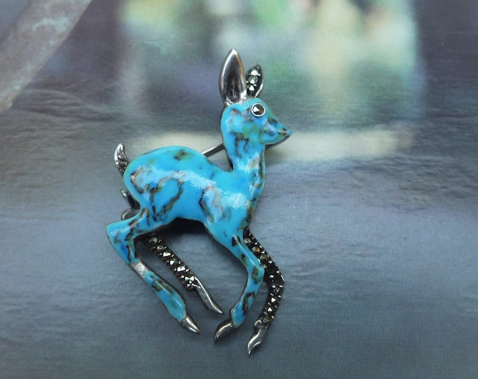 Vintage Blue Deer Brooch, 925 Silver, Enamel & Marcasite Jewellery