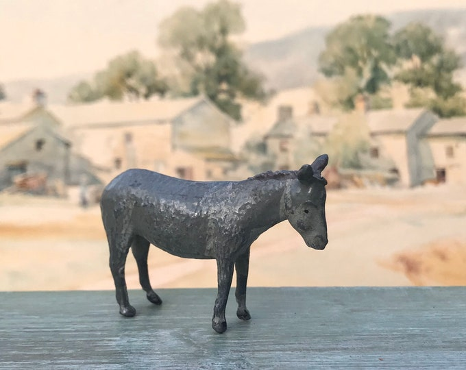 Vintage Britain's Lead Farm Animal Figure, Miniature Grey Donkey