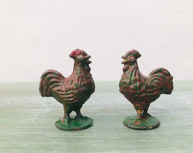 Vintage Miniature Lead Roosters by Timpo Toys circa 1950, Britain's Era Farm, Chickens