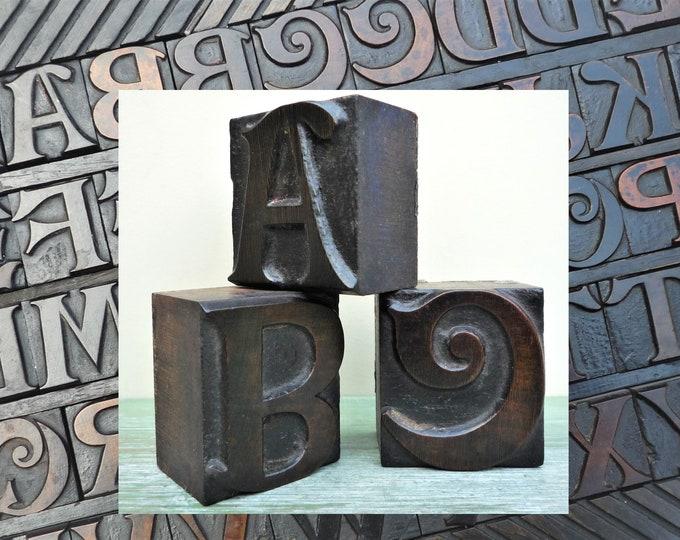 Antique Wooden Letterpress Printer Type Letter Block C D F G M N V W Y
