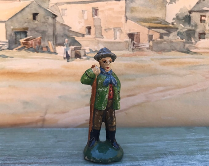 Vintage Miniature Plaster Farmer Figurine, Farm Worker Ornament