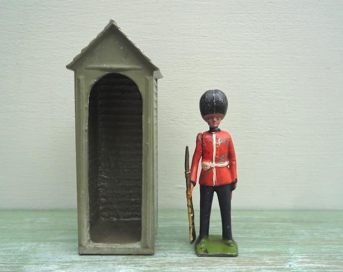Britains Miniature Scots Guard & Sentry Box, Vintage Metal Toy Soldier