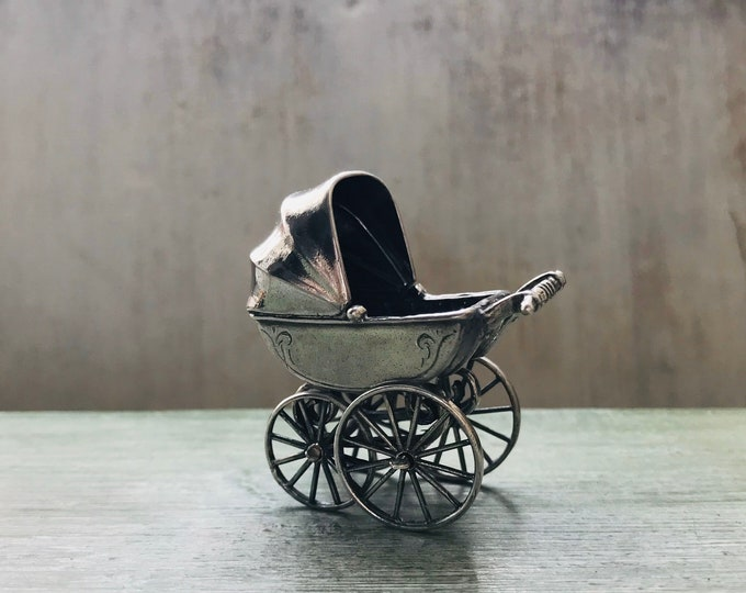 Vintage Miniature Silver Pram for a Small Dolls House Baby