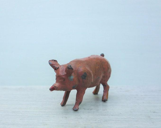 Crescent Miniature Lead Pig Britains Era 1950s Toy Farm Animal Figure