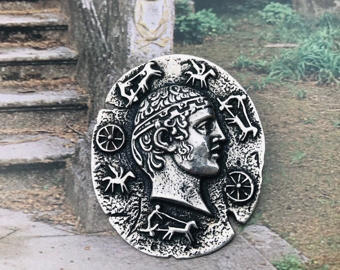 Classical Style Silver Brooch / Pendant, Greek / Roman Head & Motifs