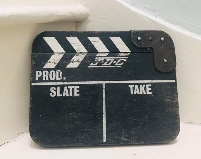 Vintage JDC Clapperboard for Home Cinema, Film Industry Photo Prop