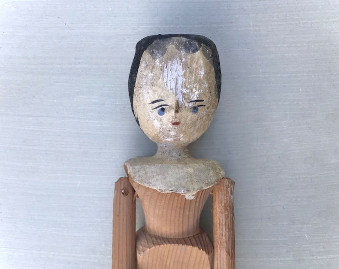 "Traditional Vintage Grodnertal Wooden Peg Doll, 12"" Handmade Antique"