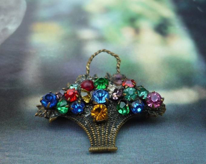 Vintage Sparkly Brooch, Small Colourful  Basket of Flowers Retro Pin