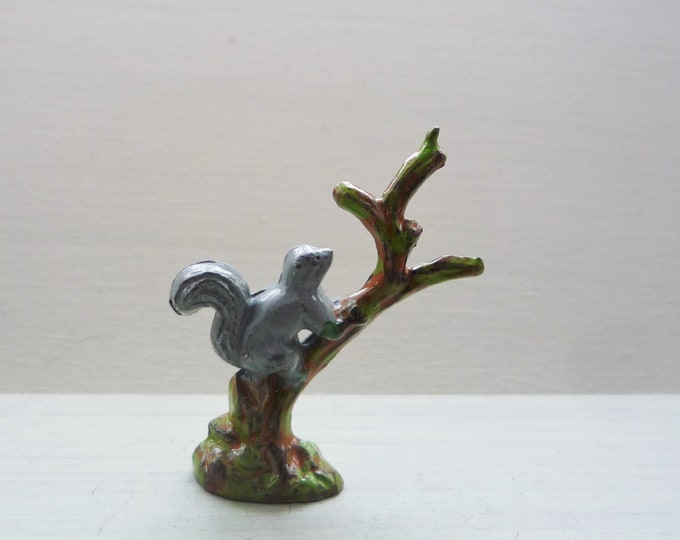 Vintage Timpo Lead Squirrel & Branch, Miniature Animal for Zoo Garden