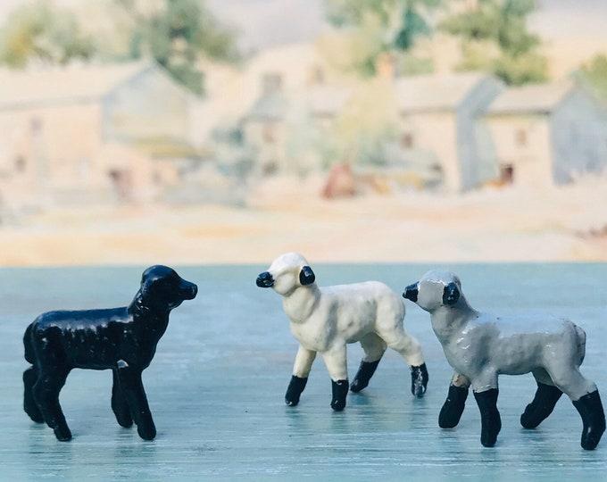 Vintage Britain's Lead Farm Animal Figures, 3 Miniature Lambs