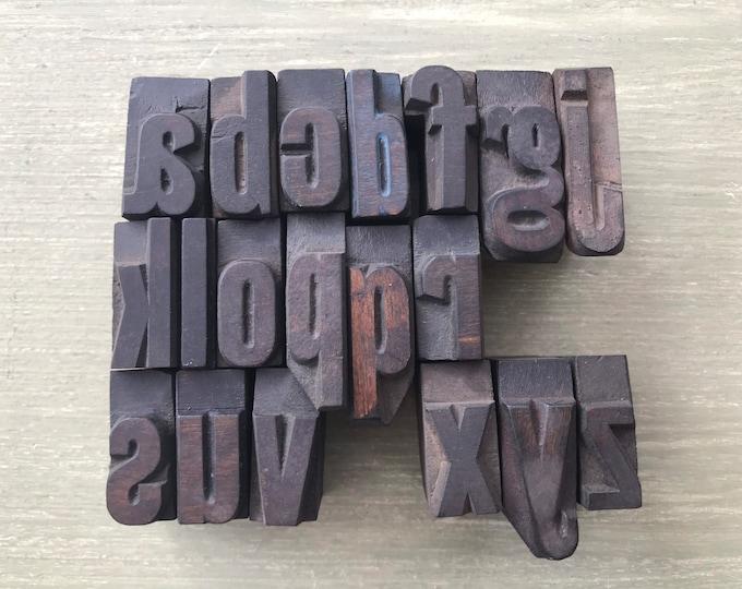 "Vintage Wooden Printers' Block Letters, Lower Case Letterpress Type 1"""