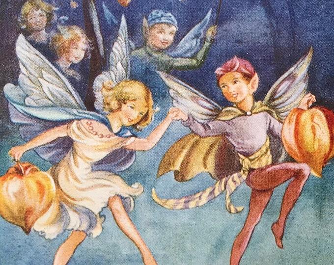 Rene Cloke Vintage Fairy Postcard The Lantern Dance, Valentine 4726