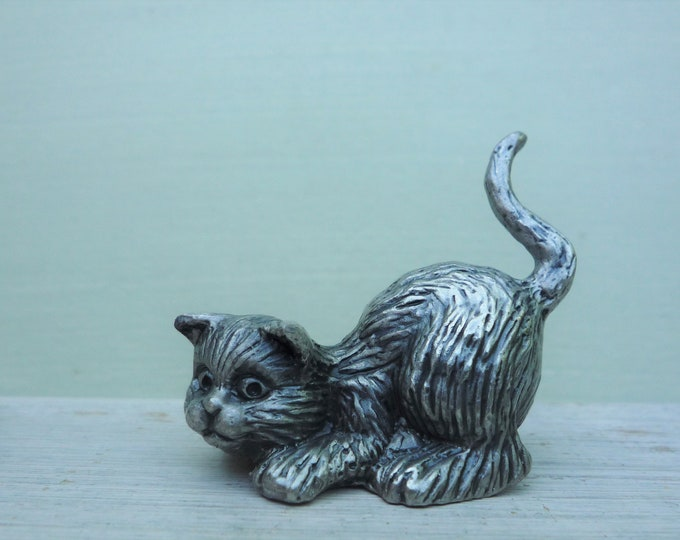 Vintage Pewter Cat Ornament, Miniature Pet Kitten Figurine