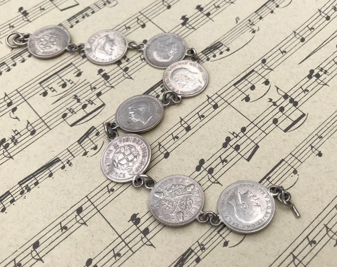 Vintage British Silver Coin Jewellery,  Threepenny Bit Bracelet 1930s