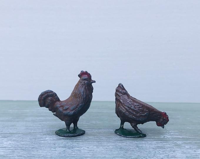 FG Taylor Pecking Hen & Rooster, Britains Era Lead Farm Chicken Figure