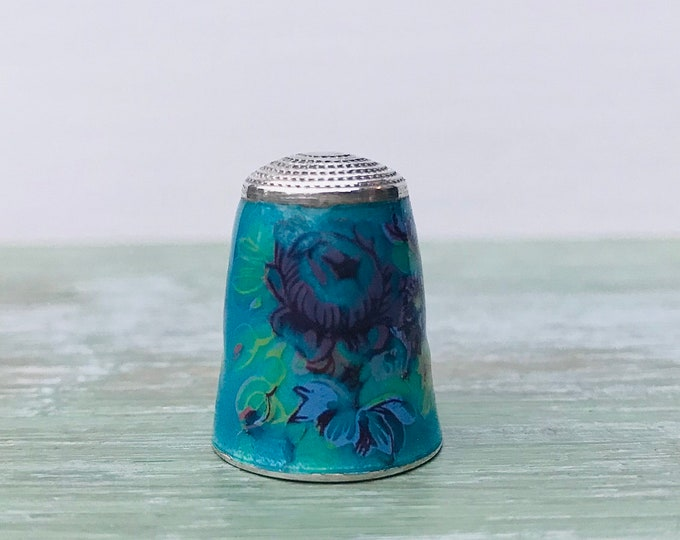 Vintage James Swann Sterling Silver Floral Thimble, Turquoise Enamel