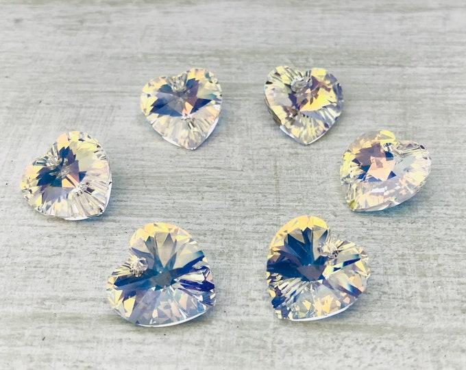 Swarovski Crystal 6228 Clear Glass Hearts, 14 mm Xilion Pendant Charm
