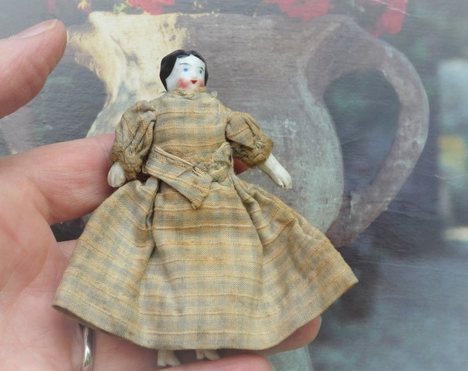 Small Antique Porcelain Doll for the Dollhouse with Dress & Petticoats