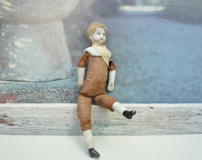 Victorian Miniature Male Doll for the Dollhouse, German Bisque China