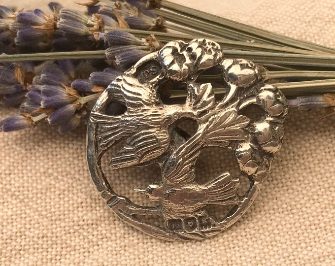 Antique Sterling Silver Button with Swallow Design, Samuel Jacob 1902