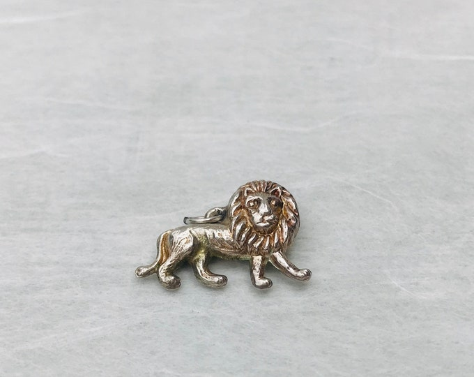 Vintage Silver Animal Pendant, Tiny Lion Pendant Jewellery Component