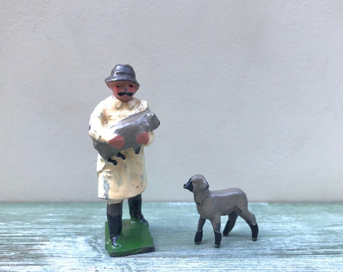 Vintage Miniature Shepherd & Lambs, J Hill / Britains Lead Farm Sheep