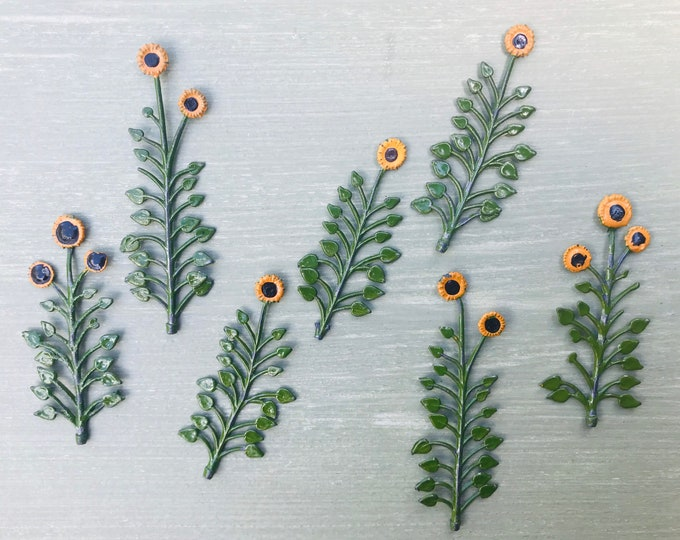 Britains Lead Model Garden Miniature Sunflower Plants, Summer Flowers